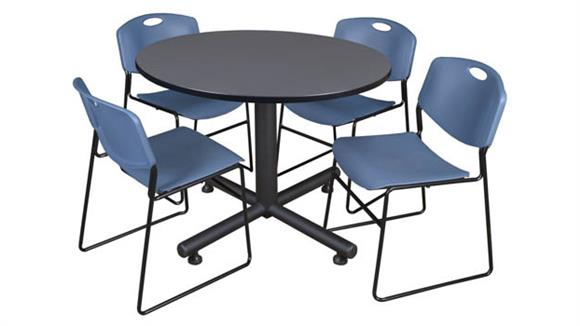 "Cafeteria Tables Regency Furniture 48"" Round Breakroom Table- Gray & 4 Zeng Stack Chairs"