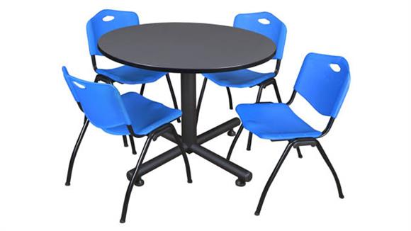 """Cafeteria Tables Regency Furniture 48"""" Round Breakroom Table- Gray & 4"""