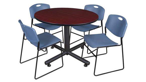 "Cafeteria Tables Regency Furniture 48"" Round Breakroom Table- Mahogany & 4 Zeng Stack Chairs"