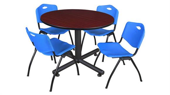 """Cafeteria Tables Regency Furniture 48"""" Round Breakroom Table- Mahogany & 4"""