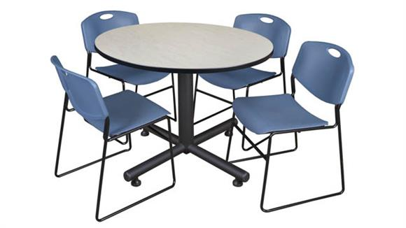 "Cafeteria Tables Regency Furniture 48"" Round Breakroom Table- Maple & 4 Zeng Stack Chairs"