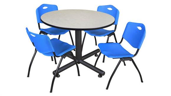 """Cafeteria Tables Regency Furniture 48"""" Round Breakroom Table- Maple & 4"""