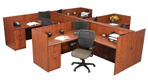 Workstations & Cubicles Regency Furniture 4-Person Single Pedestal Essential Station