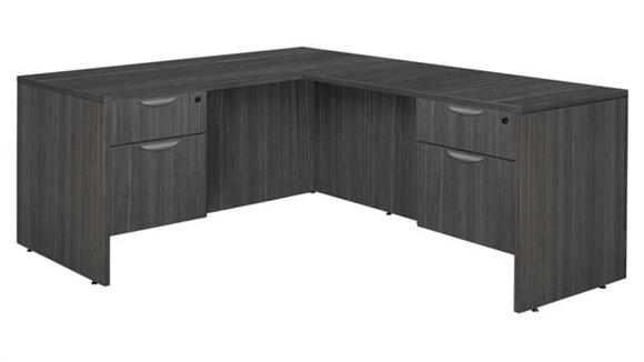 """L Shaped Desks Regency Furniture 71"""" Double Pedestal L-Desk with 47"""" Return"""