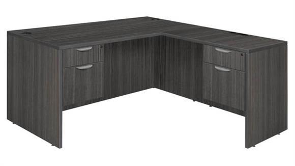 """L Shaped Desks Regency Furniture 71"""" Double Pedestal L-Desk with 35"""" Return"""