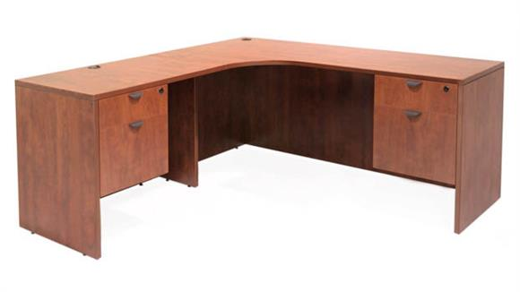 "L Shaped Desks Regency Furniture 71"" Double Pedestal Left Corner Credenza"