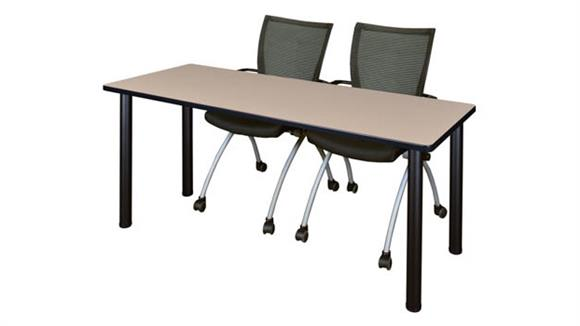 "Training Tables Regency Furniture 60"" x 24"" Training Table- Beige/ Black & 2 Apprentice Chairs- Black"