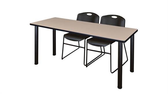 "Training Tables Regency Furniture 60"" x 24"" Training Table- Beige/ Black & 2 Zeng Stack Chairs"