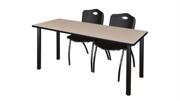 "Training Tables Regency Furniture 60"" x 24"" Training Table- Beige/ Black & 2"