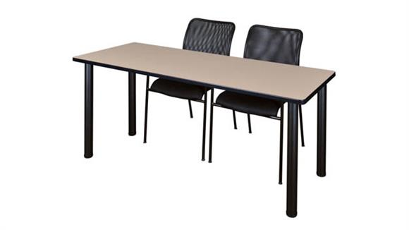 "Training Tables Regency Furniture 60"" x 24"" Training Table- Beige/ Black & 2 Mario Stack Chairs- Black"