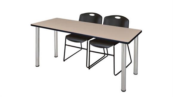 "Training Tables Regency Furniture 60"" x 24"" Training Table- Beige/ Chrome & 2 Zeng Stack Chairs"