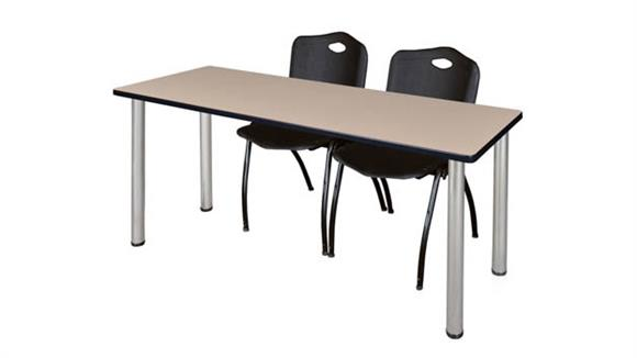 "Training Tables Regency Furniture 60"" x 24"" Training Table- Beige/ Chrome & 2"