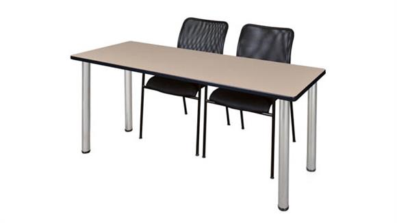 "Training Tables Regency Furniture 60"" x 24"" Training Table- Beige/ Chrome & 2 Mario Stack Chairs- Black"