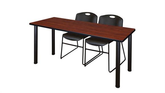 "Training Tables Regency Furniture 60"" x 24"" Training Table- Cherry/ Black & 2 Zeng Stack Chairs"