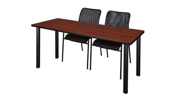 "Training Tables Regency Furniture 60"" x 24"" Training Table- Cherry/ Black & 2 Mario Stack Chairs- Black"