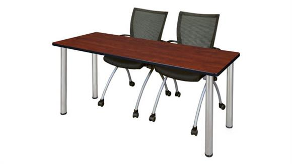 "Training Tables Regency Furniture 60"" x 24"" Training Table- Cherry/ Chrome & 2 Apprentice Chairs- Black"