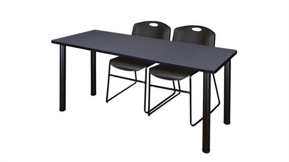 "Training Tables Regency Furniture 60"" x 24"" Training Table- Gray/ Black & 2 Zeng Stack Chairs"