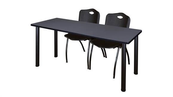 "Training Tables Regency Furniture 60"" x 24"" Training Table- Gray/ Black & 2"