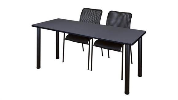 "Training Tables Regency Furniture 60"" x 24"" Training Table- Gray/ Black & 2 Mario Stack Chairs- Black"