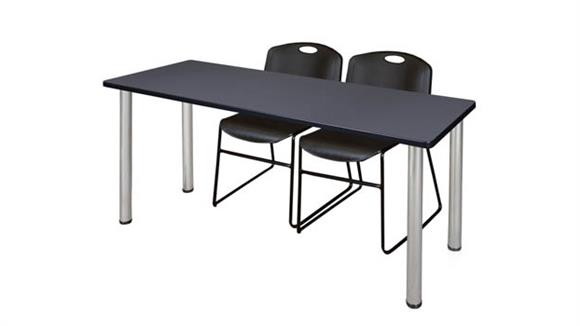 "Training Tables Regency Furniture 60"" x 24"" Training Table- Gray/ Chrome & 2 Zeng Stack Chairs"
