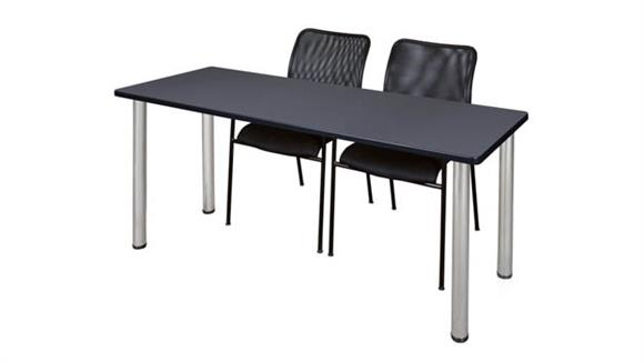 "Training Tables Regency Furniture 60"" x 24"" Training Table- Gray/ Chrome & 2 Mario Stack Chairs- Black"