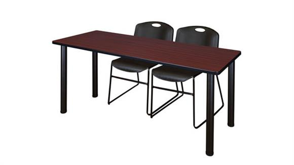 "Training Tables Regency Furniture 60"" x 24"" Training Table- Mahogany/ Black & 2 Zeng Stack Chairs"