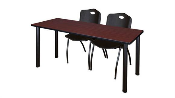 "Training Tables Regency Furniture 60"" x 24"" Training Table- Mahogany/ Black & 2"