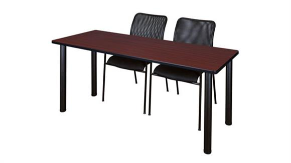 "Training Tables Regency Furniture 60"" x 24"" Training Table- Mahogany/ Black & 2 Mario Stack Chairs- Black"