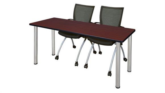 "Training Tables Regency Furniture 60"" x 24"" Training Table- Mahogany/ Chrome & 2 Apprentice Chairs- Black"