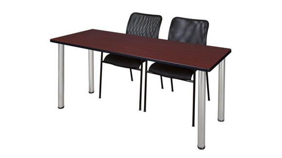 "Training Tables Regency Furniture 60"" x 24"" Training Table- Mahogany/ Chrome & 2 Mario Stack Chairs- Black"