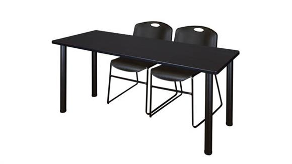 "Training Tables Regency Furniture 60"" x 24"" Training Table- Mocha Walnut/ Black & 2 Zeng Stack Chairs"