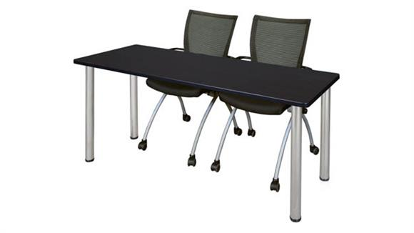 "Training Tables Regency Furniture 60"" x 24"" Training Table- Mocha Walnut/ Chrome & 2 Apprentice Chairs- Black"