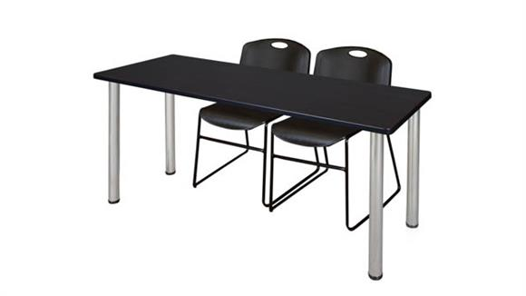 "Training Tables Regency Furniture 60"" x 24"" Training Table- Mocha Walnut/ Chrome & 2 Zeng Stack Chairs"