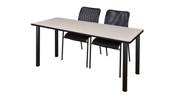 "Training Tables Regency Furniture 60"" x 24"" Training Table- Maple/ Black & 2 Mario Stack Chairs- Black"