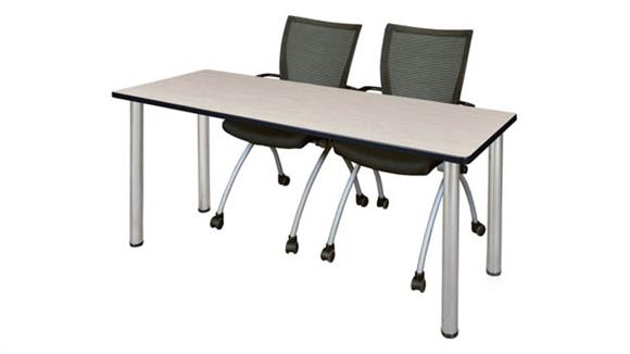 "Training Tables Regency Furniture 60"" x 24"" Training Table- Maple/ Chrome & 2 Apprentice Chairs- Black"