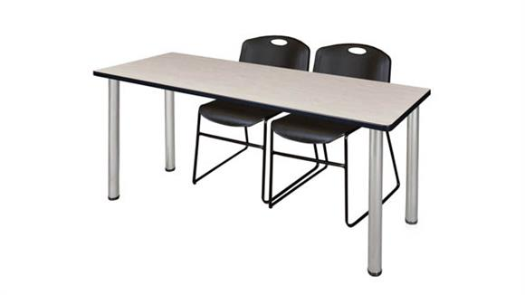 "Training Tables Regency Furniture 60"" x 24"" Training Table- Maple/ Chrome & 2 Zeng Stack Chairs"
