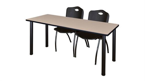 "Training Tables Regency Furniture 66"" x 24"" Training Table- Beige/ Black & 2"
