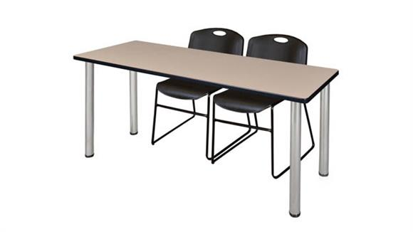 "Training Tables Regency Furniture 66"" x 24"" Training Table- Beige/ Chrome & 2 Zeng Stack Chairs"