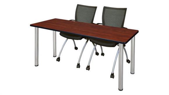 "Training Tables Regency Furniture 66"" x 24"" Training Table- Cherry/ Chrome & 2 Apprentice Chairs- Black"