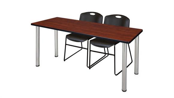 "Training Tables Regency Furniture 66"" x 24"" Training Table- Cherry/ Chrome & 2 Zeng Stack Chairs"