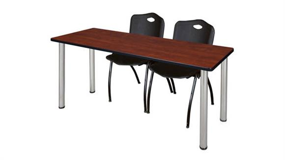"Training Tables Regency Furniture 66"" x 24"" Training Table- Cherry/ Chrome & 2"