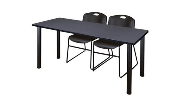 "Training Tables Regency Furniture 66"" x 24"" Training Table- Gray/ Black & 2 Zeng Stack Chairs"