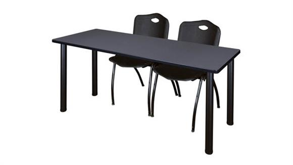 "Training Tables Regency Furniture 66"" x 24"" Training Table- Gray/ Black & 2"