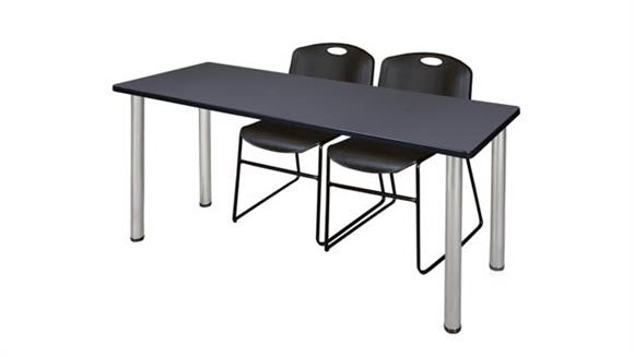 "Training Tables Regency Furniture 66"" x 24"" Training Table- Gray/ Chrome & 2 Zeng Stack Chairs"
