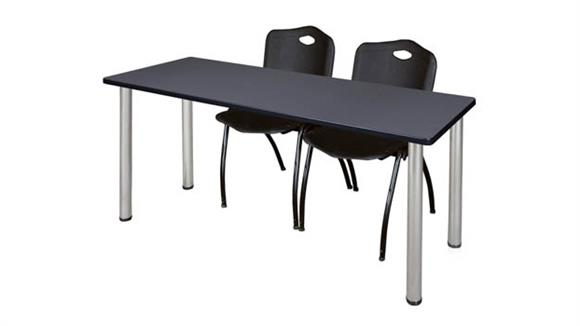"Training Tables Regency Furniture 66"" x 24"" Training Table- Gray/ Chrome & 2"