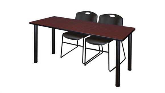 "Training Tables Regency Furniture 66"" x 24"" Training Table- Mahogany/ Black & 2 Zeng Stack Chairs"