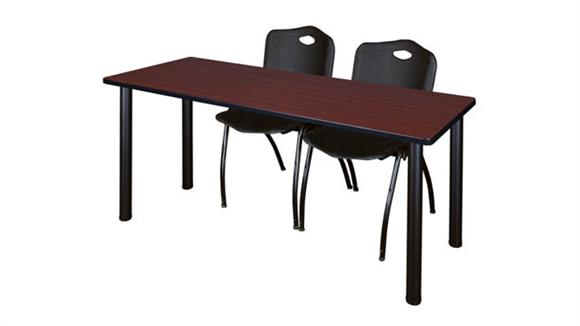 "Training Tables Regency Furniture 66"" x 24"" Training Table- Mahogany/ Black & 2"