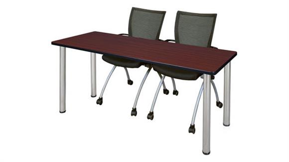 "Training Tables Regency Furniture 66"" x 24"" Training Table- Mahogany/ Chrome & 2 Apprentice Chairs- Black"