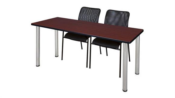 "Training Tables Regency Furniture 66"" x 24"" Training Table- Mahogany/ Chrome & 2 Mario Stack Chairs- Black"