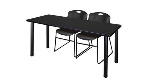 "Training Tables Regency Furniture 66"" x 24"" Training Table- Mocha Walnut/ Black & 2 Zeng Stack Chairs"
